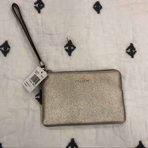 NWT Metallic Gold Coach Wristlet